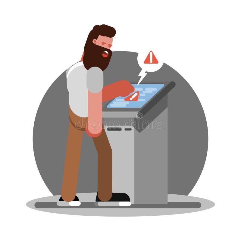Mężczyzna troudle używać ATM ilustracja wektor