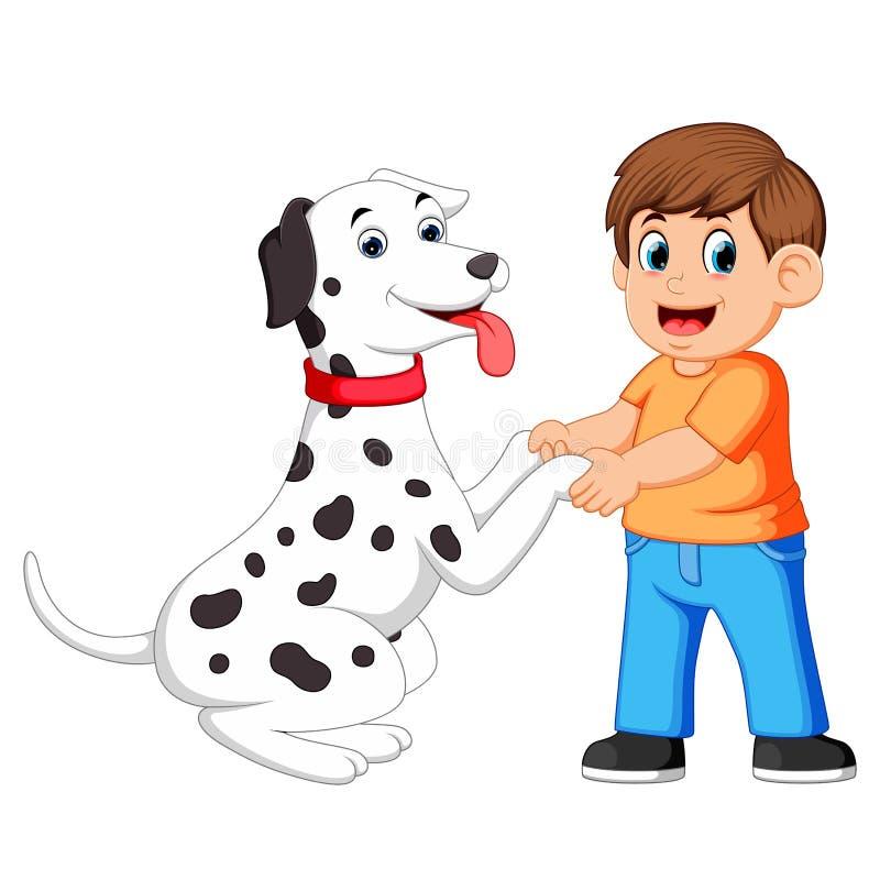 Mężczyzna trząść ręki z dalmatian psami ilustracja wektor