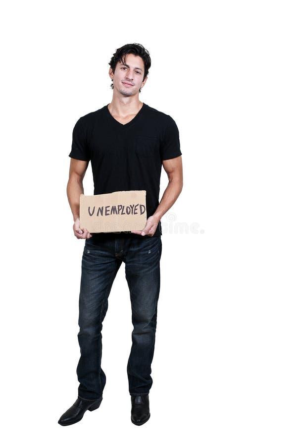 Mężczyzna Trzyma bezrobocie znaka zdjęcia stock