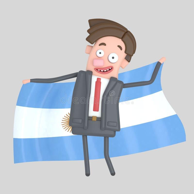 Mężczyzna trzyma dużą flaga Argentyna ilustracja 3 d ilustracja wektor