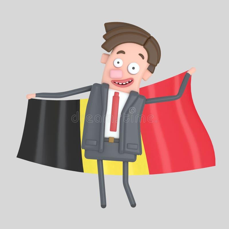 Mężczyzna trzyma dużą flaga Belgia ilustracja 3 d ilustracja wektor