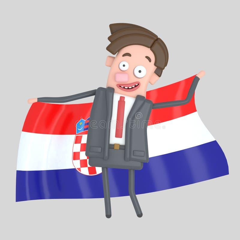 Mężczyzna trzyma dużą flaga Chorwacja ilustracja 3 d royalty ilustracja