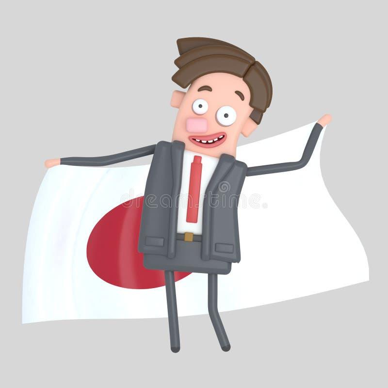 Mężczyzna trzyma dużą flaga Japonia ilustracja 3 d ilustracji