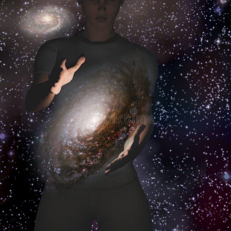 Mężczyzna trzyma galaxy ilustracja wektor