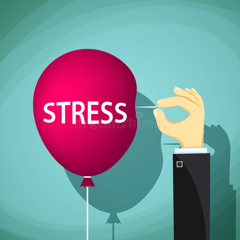 Mężczyzna trzyma igłę i czerwonego balon z słowo stresem ilustracji