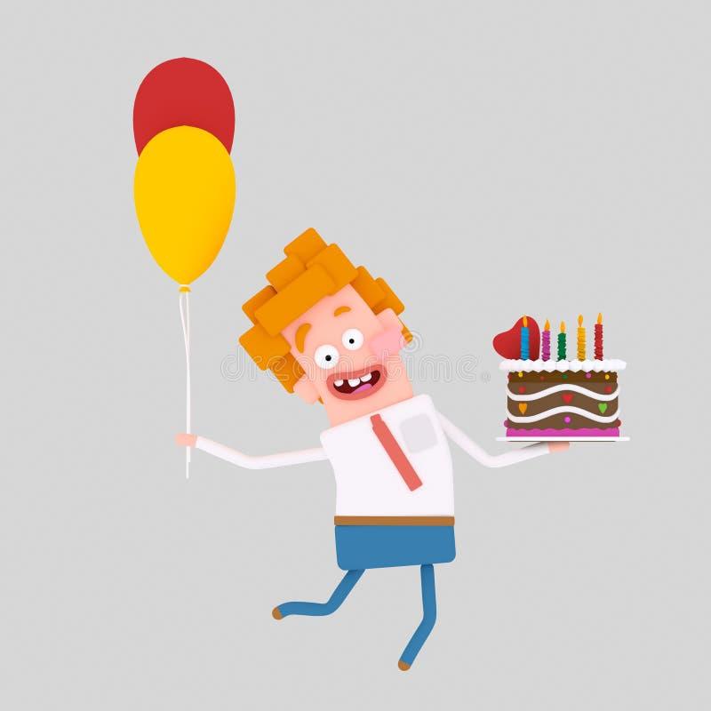 Mężczyzna trzyma kolorowego tort 3d royalty ilustracja
