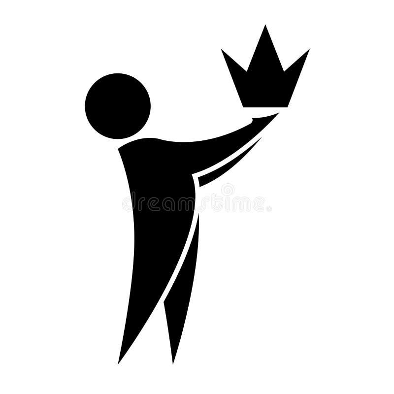 Mężczyzna trzyma koronę w jego rękach ikona Premii ilości symbol Biznesowego sukcesu i przywódctwo pojęcie Tample ilustracja wektor