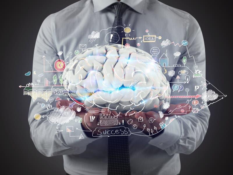 Mężczyzna trzyma mózg z biznesowymi rysunków nakreśleniami na jego rękach świadczenia 3 d fotografia royalty free