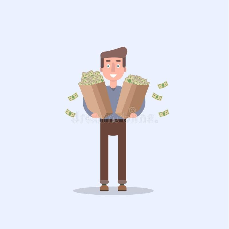 Mężczyzna trzyma mnóstwo pieniądze w pakunku dolar euro, funt royalty ilustracja