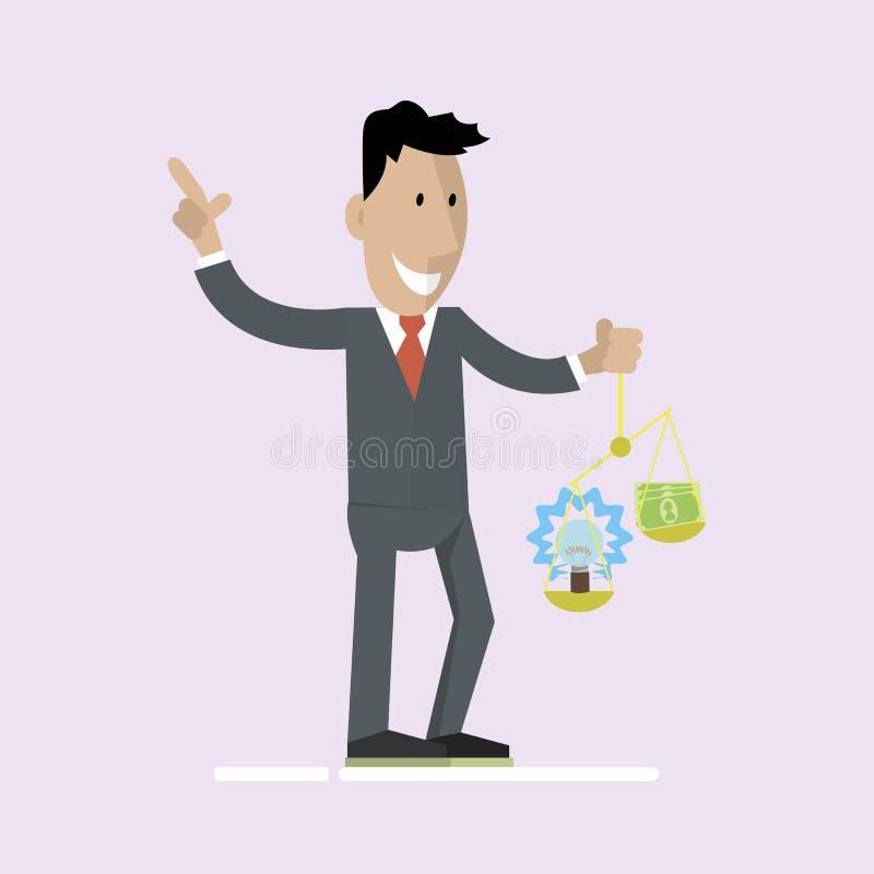 Mężczyzna trzyma pieniądze i pomysł na waży ilustracja wektor