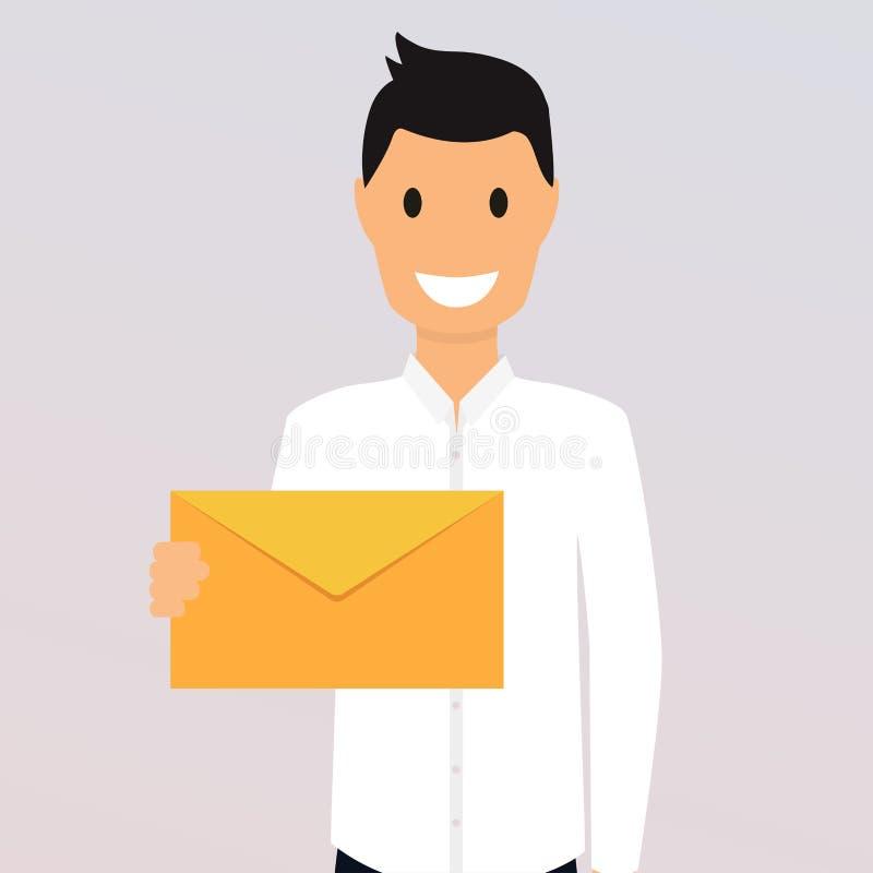 Mężczyzna trzyma poczta Kierownika lub biznesmena przedstawień email ilustracji