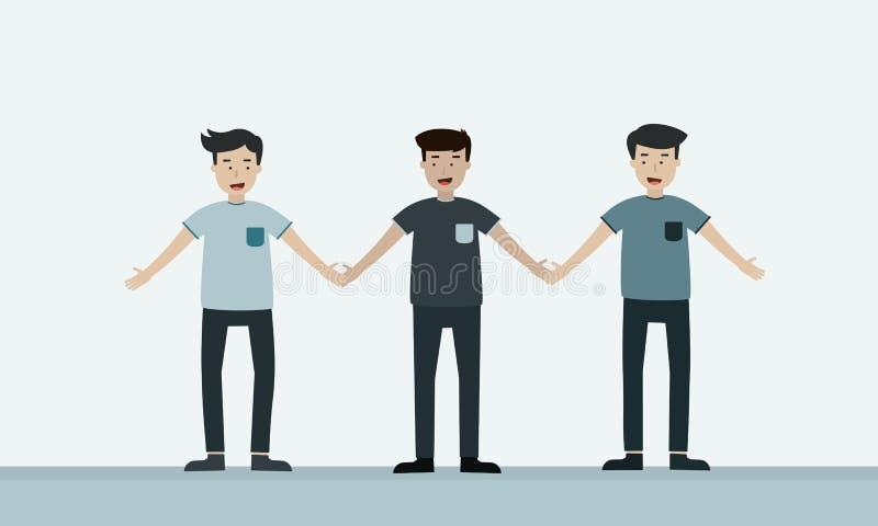 Mężczyzna trzyma ręki przyjaźń wpólnie ilustracja wektor