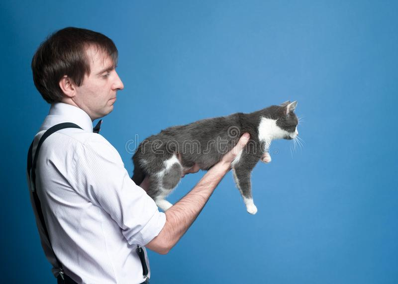 Mężczyzna trzyma szarego kota na szeroko rozpościerać rękach w koszula z staczający się w górę rękawów zdjęcie stock