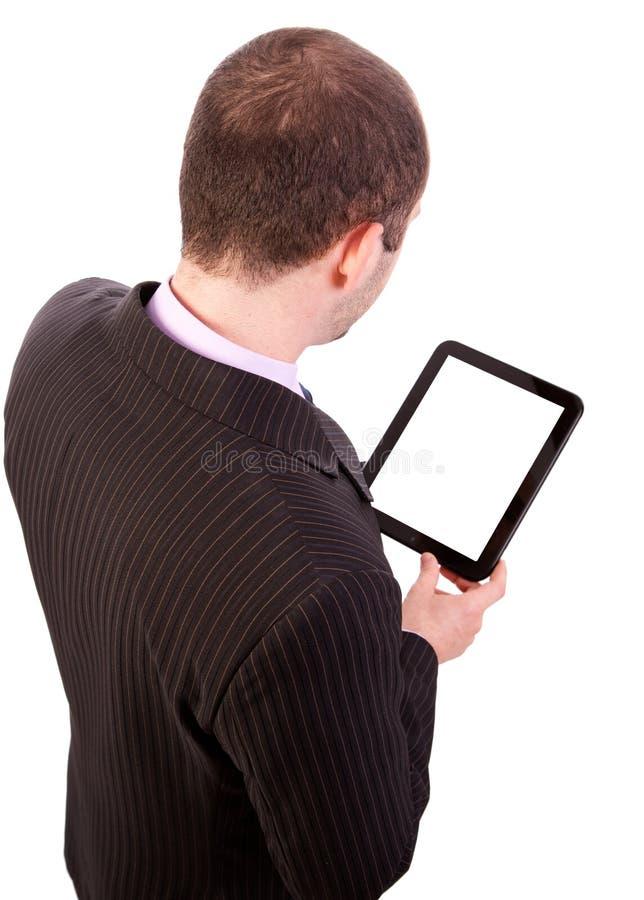 Mężczyzna trzyma touchpad komputer osobisty obrazy royalty free