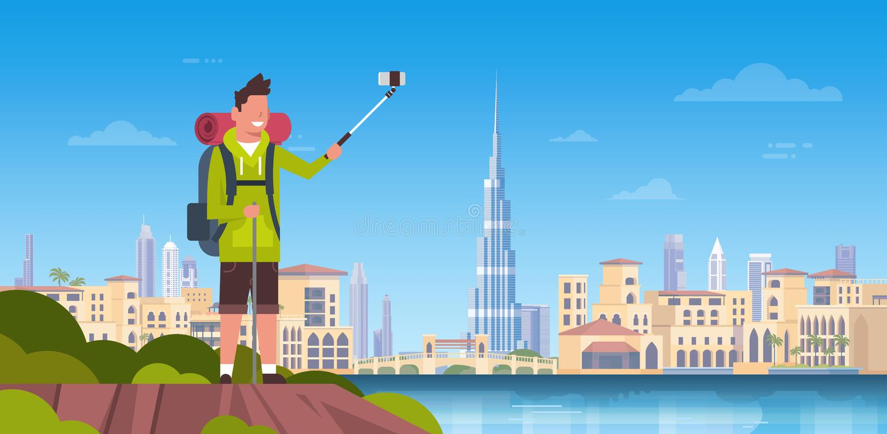 Mężczyzna turysta Z plecakiem Bierze Selfie fotografię Nad Pięknym Dubaj miasta tłem ilustracji