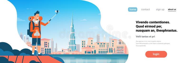 Mężczyzna turystyczny plecak bierze selfie fotografię nad pięknego Dubaj miasta tła pejzażu miejskiego sztandaru płaską horyzonta ilustracji