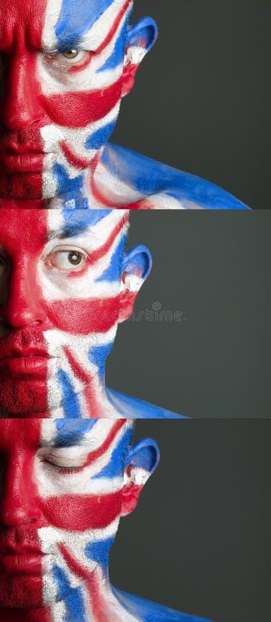 Mężczyzna twarz malujący chorągwiany Zjednoczone Królestwo obraz stock
