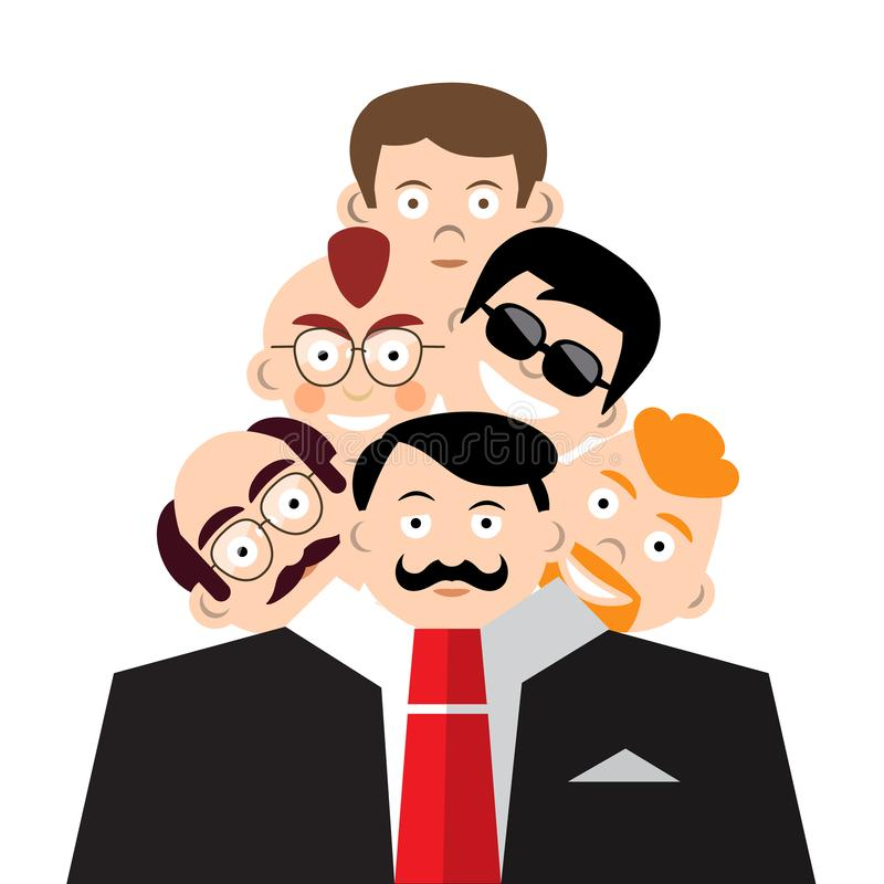 Mężczyzna twarze w kostiumu Schizoidalny osobowości pojęcie royalty ilustracja