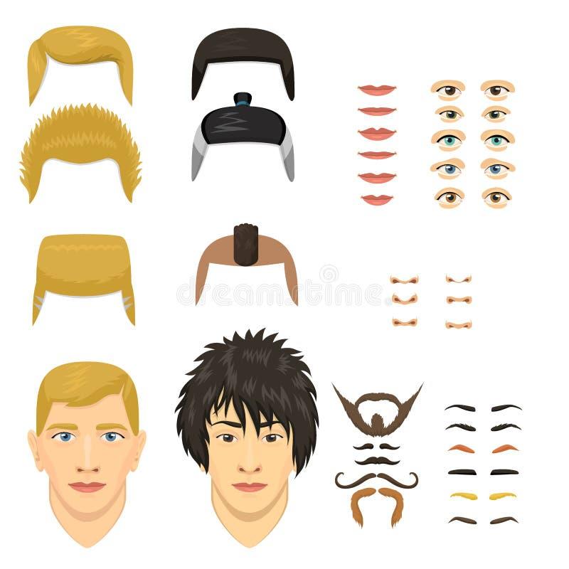 Mężczyzna twarzy emocj konstruktor rozdziela oczy, nos, wargi, broda, wąsy avatar twórcy postać z kreskówki wektorowy tworzenie ilustracji
