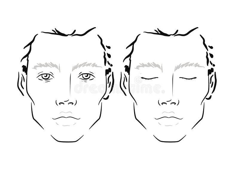 Mężczyzna twarzy mapy Makeup artysty puste miejsce szablon royalty ilustracja