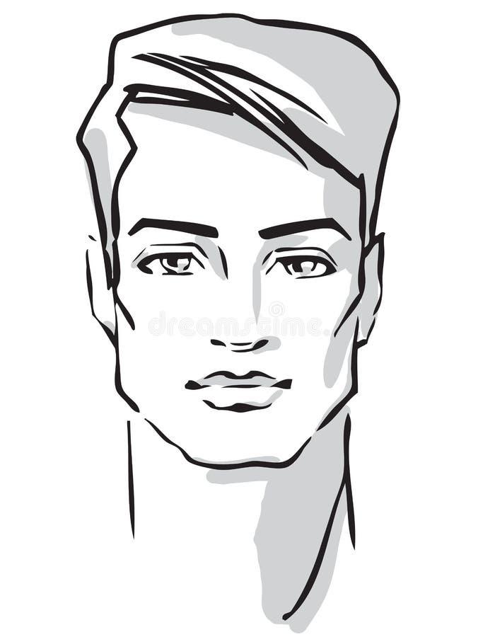 Mężczyzna twarzy mody pociągany ręcznie model ilustracja wektor
