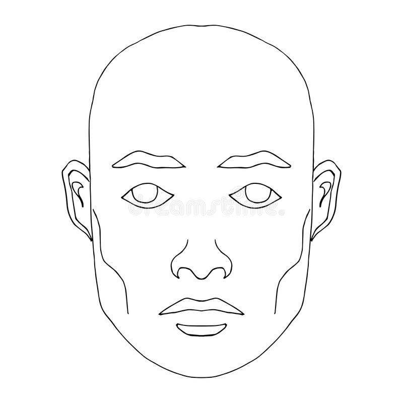 Mężczyzna twarzy nakreślenie ilustracja wektor
