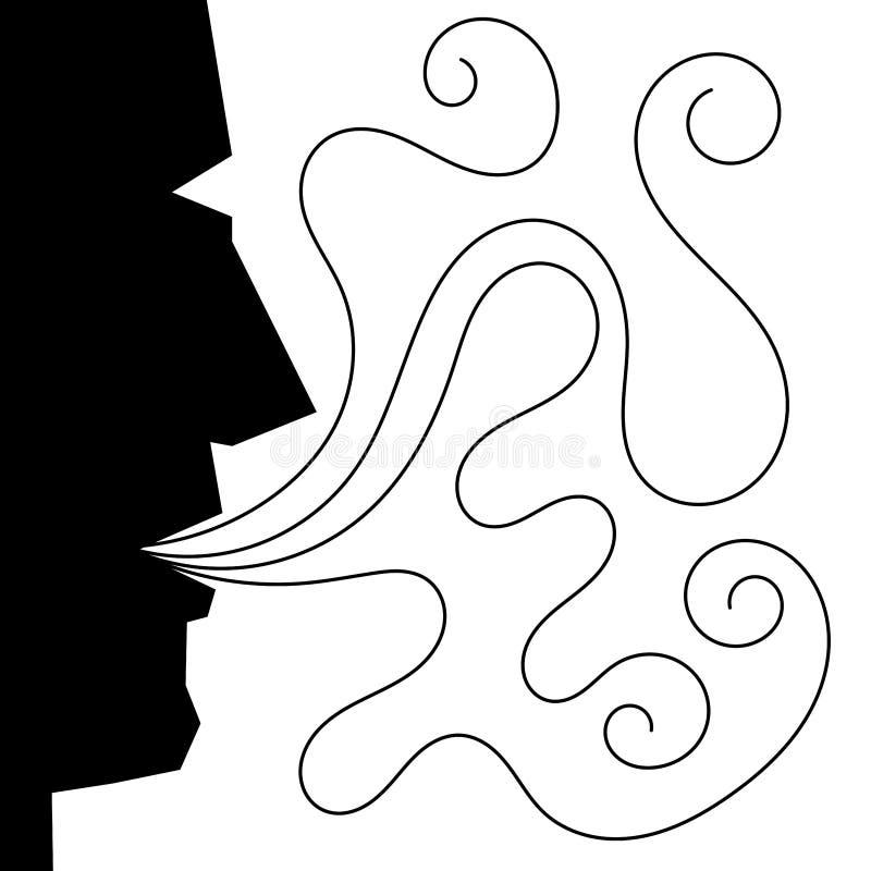 Mężczyzna twarzy sylwetki dmuchania dym ilustracja wektor
