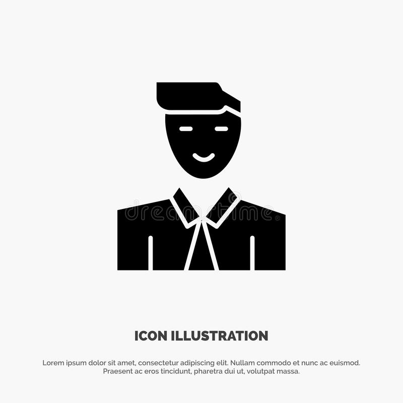 Mężczyzna, użytkownik, uczeń, nauczyciel, Avatar glifu ikony stały wektor royalty ilustracja