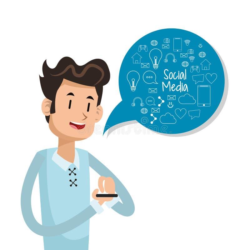 Mężczyzna użytkownika smartphone bąbla mowy socjalny środki ilustracja wektor