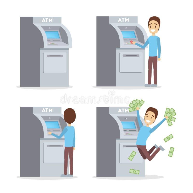 Mężczyzna używa ATM maszynę ilustracji
