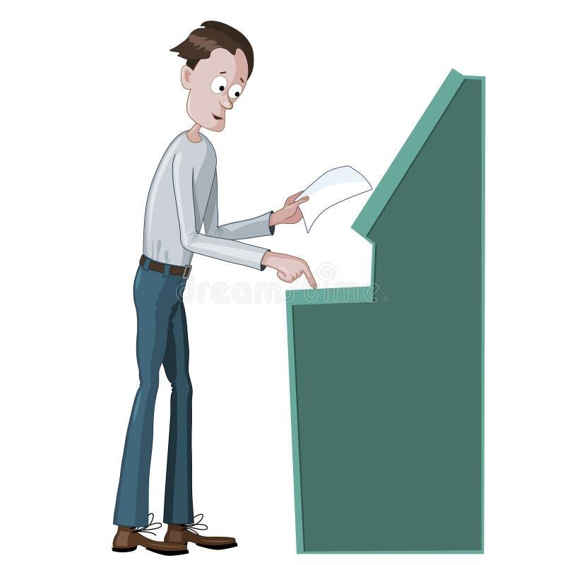 Mężczyzna używa ATM maszynę ilustracja wektor