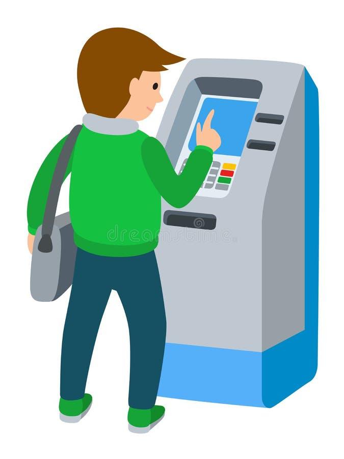 Mężczyzna używa ATM maszynę Wektorowa ilustracja ludzie bielu tła ilustracja wektor