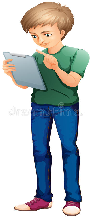 Mężczyzna używa komputer royalty ilustracja