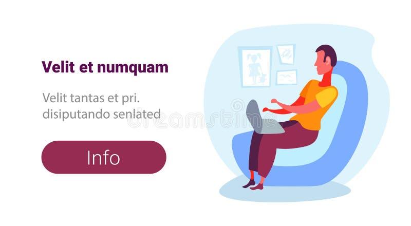 Mężczyzna używa laptopu karło relaksuje żywa izbowa płaska męska postać z kreskówki odizolowywającą pojęcie kopii horyzontalną pr ilustracja wektor