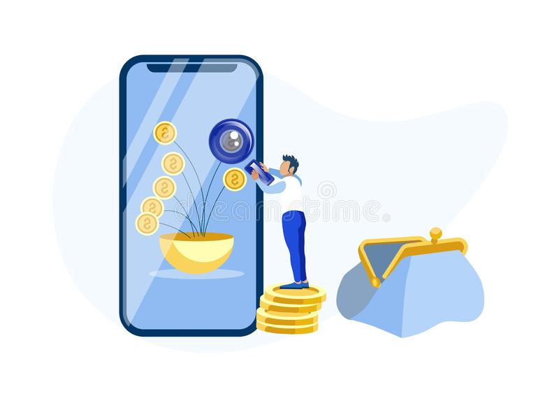 Mężczyzna Używa Mobilną bankowości App metafory kreskówkę ilustracja wektor