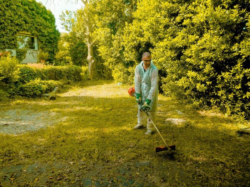Mężczyzna używa szczotkarskiego krajacza zdjęcie royalty free