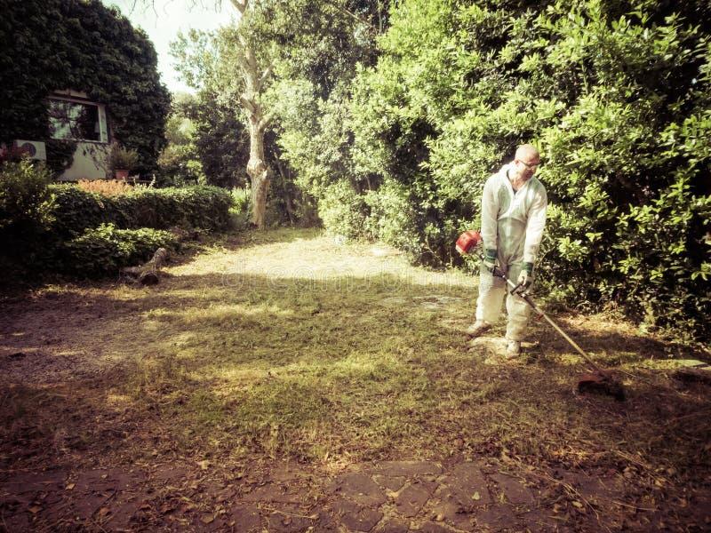 Mężczyzna używa szczotkarskiego krajacza fotografia royalty free
