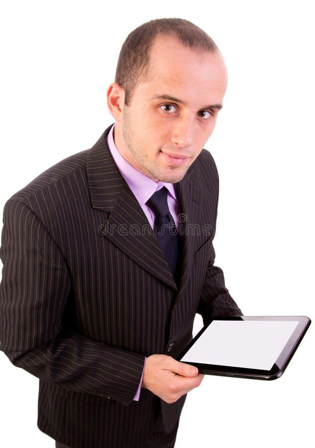 Mężczyzna używa touchpad komputer osobisty zdjęcie stock