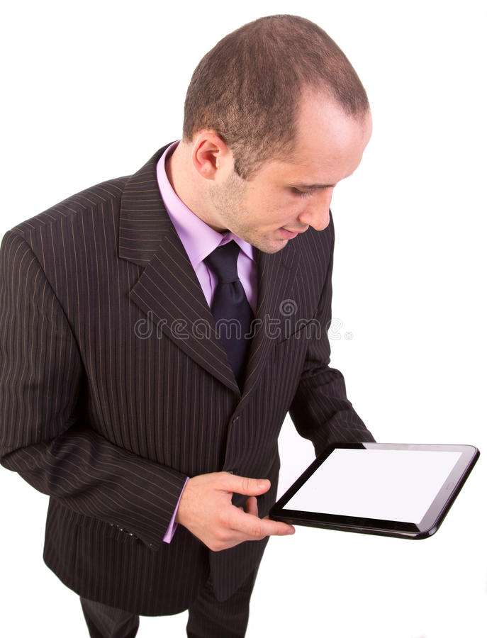 Mężczyzna używa touchpad komputer osobisty obraz stock