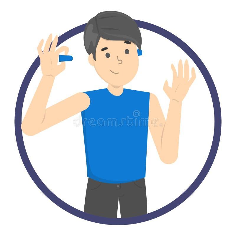 Mężczyzna używa zatyczkę do uszu zmniejszać hałas ilustracji