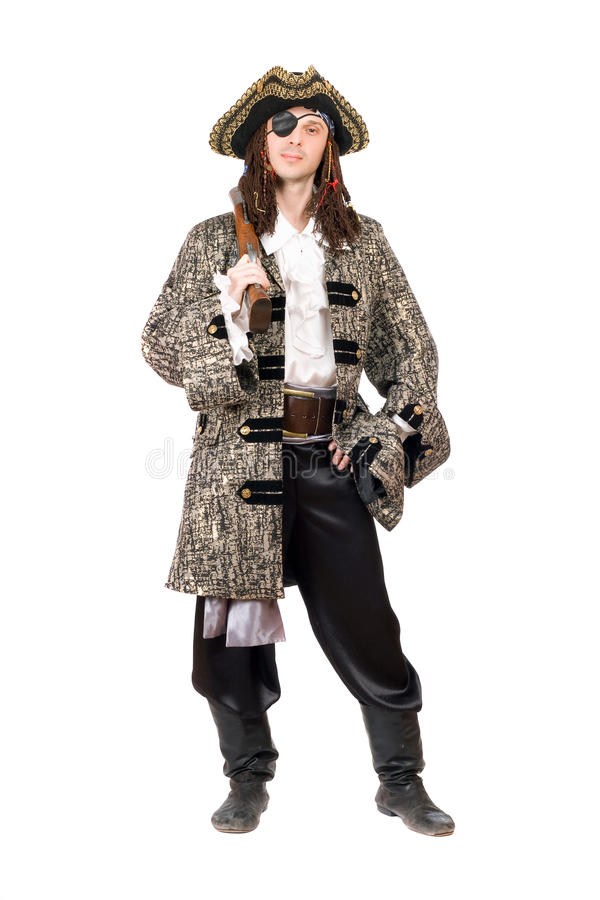 Mężczyzna ubierający jak pirat. Odosobniony obraz royalty free