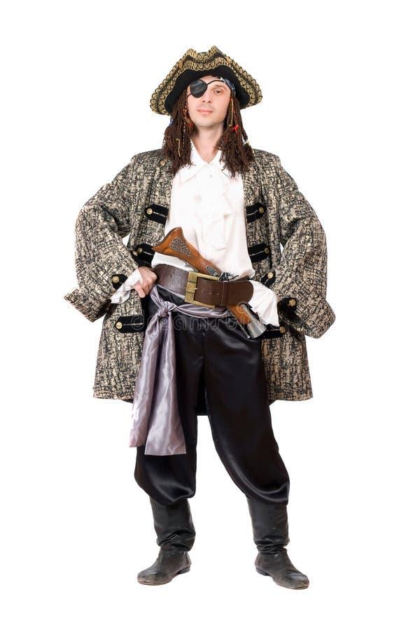 Mężczyzna ubierający jak pirat. Odosobniony obrazy stock