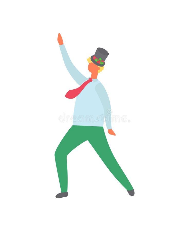 Mężczyzna Ubierający w kapeluszu Dekorującym jemioł jagodami royalty ilustracja