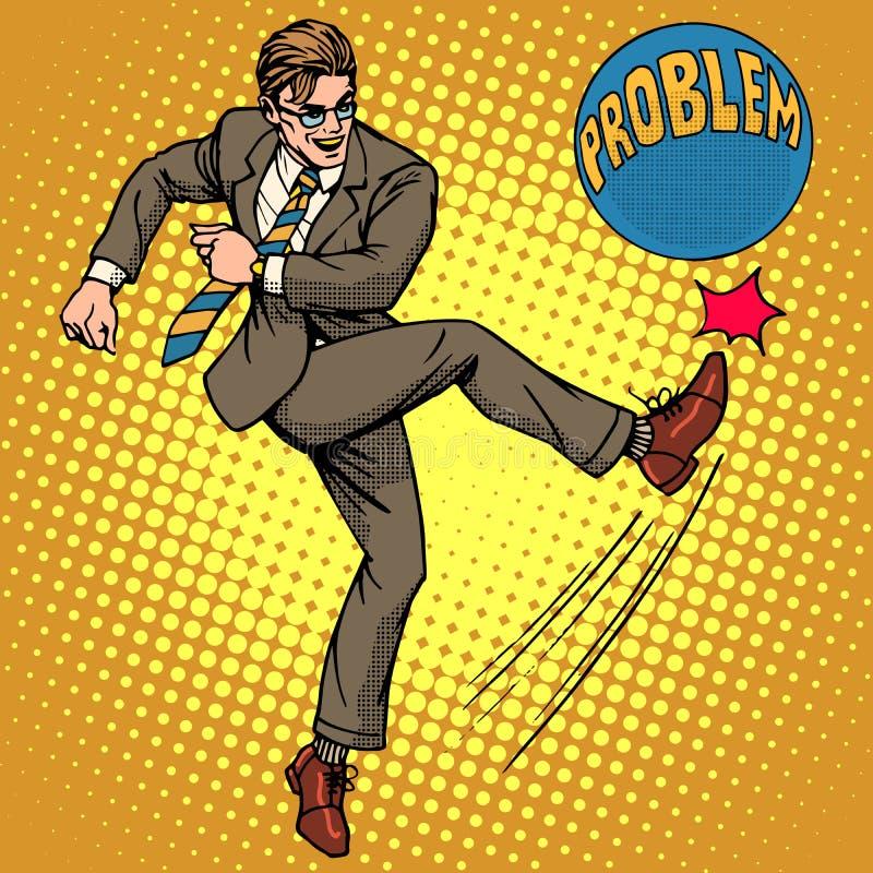 Mężczyzna uderza piłkę z imię problemem ilustracja wektor