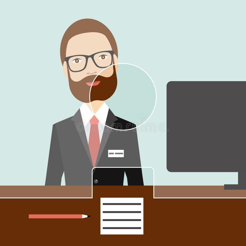 Mężczyzna urzędnik w banku ilustracja wektor