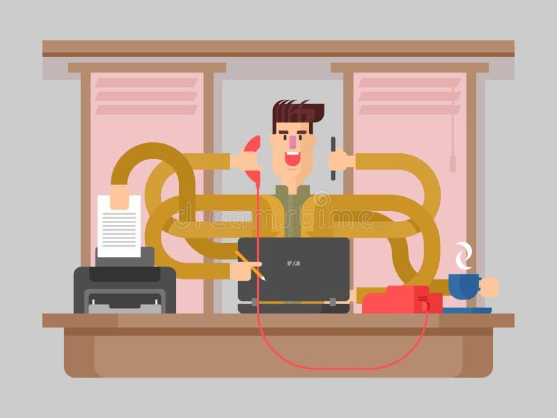 Mężczyzna urzędnika multitasking ilustracji