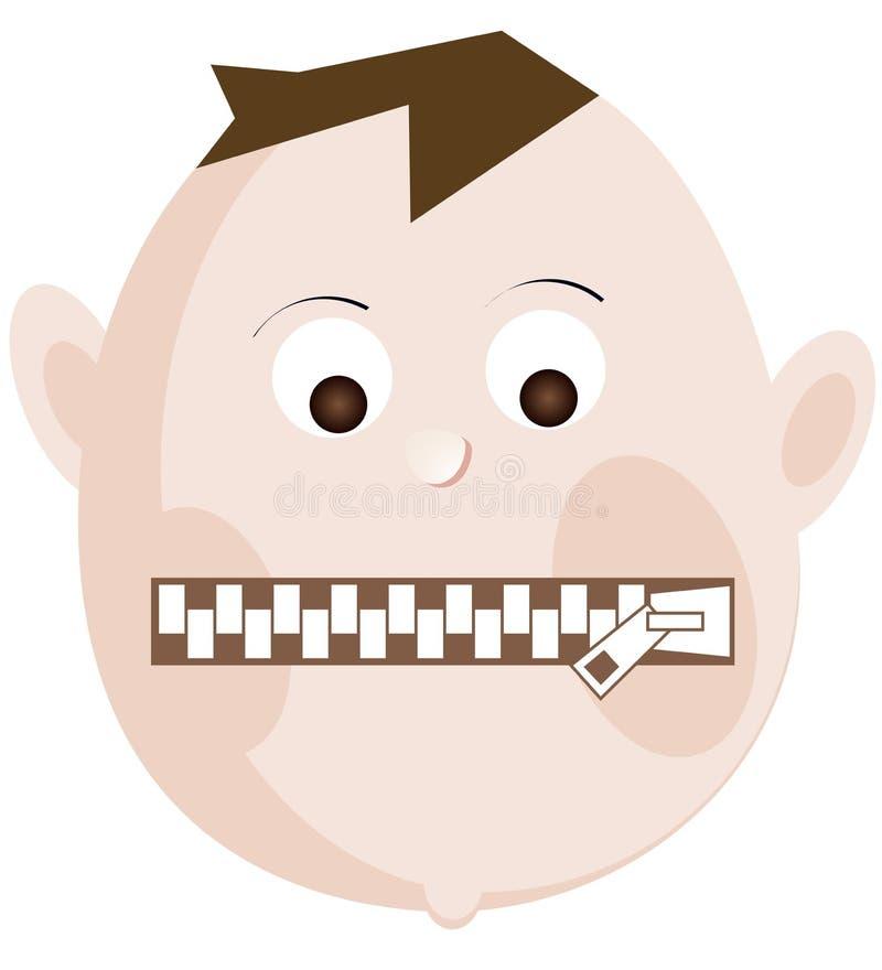 Mężczyzna usta zamyka w górę suwaczka zamykającego Pojęcie ograniczony wyrażenie, cisza, anonimowość royalty ilustracja