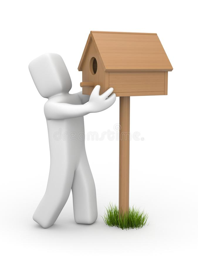 Mężczyzna ustawia birdhouse ilustracji