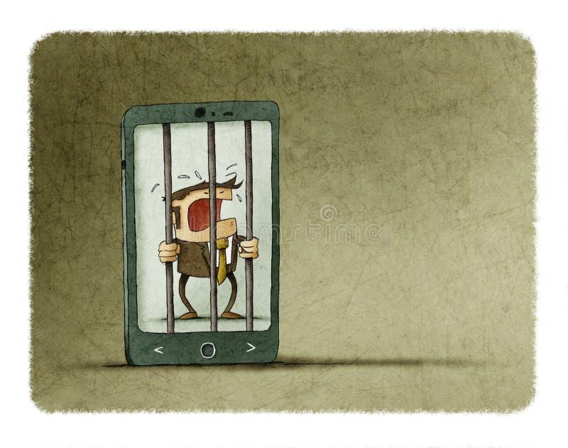 Mężczyzna uzależniający się telefon komórkowy łapać w pułapkę wśrodku telefonu jak więzienie ilustracja wektor