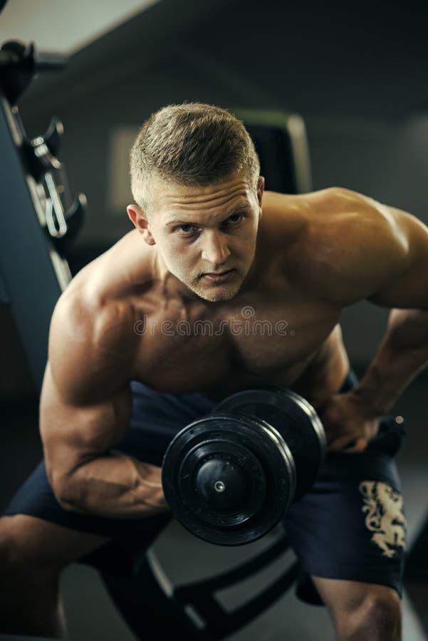Mężczyzna uzdrawiają ciało opiekę Bodybuilder mężczyzna budowy ręki mięśnie z dumbbell w gym fotografia stock